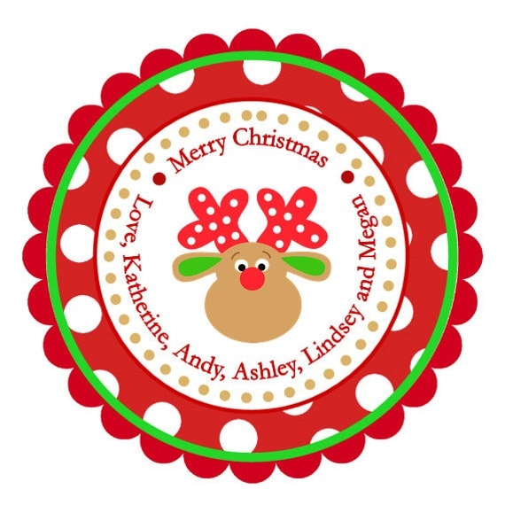 Polka Dot Reindeer Personalized Stickers, Christmas, Address Labels ...