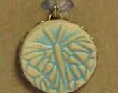 Small Ceramic Stoneware Butterfly Pendant in Bronze Setting - Turquoise