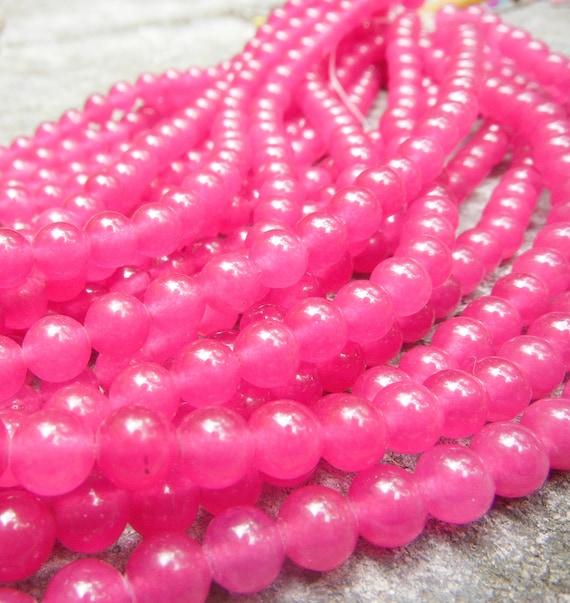 Bright Fuschia Jade  6mm Round Beads 16 Inch Strand