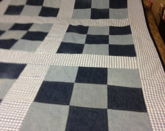 Recycled Denim Quilt With Blue Gingham and 9 Patch design