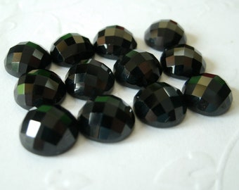 Gemstone Cabochons Black Spinel Checkerboard 8mm FOR TWO