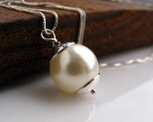 Cream Crystal pearl sterling silver necklace