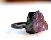 Light purple amethyst oxidized handmade sterling silver ring size 6 and a half raw rough organic gemstone February birthstone