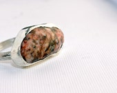 Handmade sterling silver Michigan beach stone ring size 8 granite natural beach stone