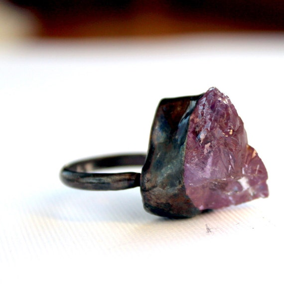 Light purple amethyst oxidized handmade sterling silver ring size 6 and a half raw rough organic gemstone February birthstone