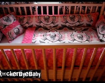 CUSTOM PUNK baby crib bedding set YOU choose the fabric skulls skull and crossbones goth exclusive RockerByeBaby print pink or blue