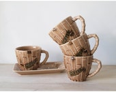 Reserved for BayouBettie - Tiki Coffee Cups and Serving Tray - 3 Sets
