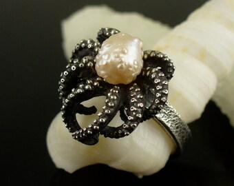 SALE - RoseBud Pearl Octopus Ring, tentacle ring, Sterling Silver Octopus Ring