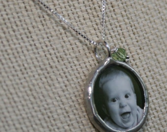 Mothers birthstone photo necklace