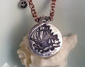 Ship at Sea Mixed Metal Necklace