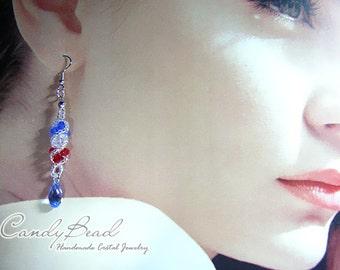 Swarovski earrings;crystal earrings;Red, White and Blue Twisty Genuine Swarovski Crystal Earrings