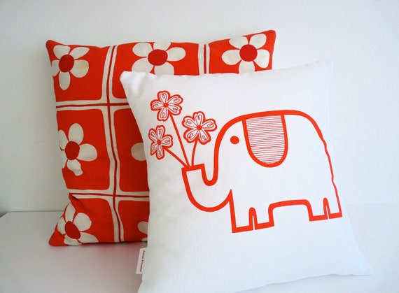 SALE Screen Printed Retro Elephant Cushion Pillow by Jane Foster