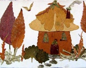 Pressed Plant Faery Cottage Collage