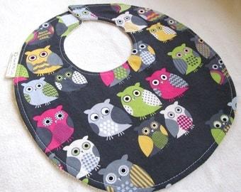 Baby Girl Bib - Modern Owls - cotton bib with terry cloth backing