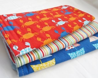 Baby Boy Burp Cloth Gift Set - Don't Be Crabby - Crabs, Stripes and Sailboats - Burp Pad Set in Nautical - Beach theme