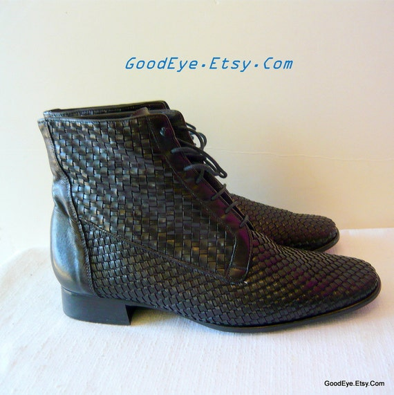 Fab Woven Leather Ankle Boots sz 9 B Eur 40 UK 6 .5 Black Laceup Oxfords
