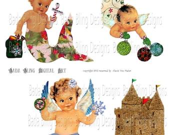 Christmas Mermaid Babies, sheet 1 of 2, INSTANT DOWNLOAD,altered art,mermaid  collage sheets,mermaids, mermaid
