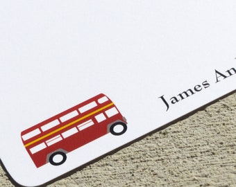 London Personalized Stationery Double Decker Bus Stationery - Set of Notecards