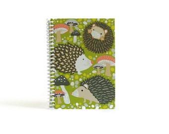 Hedgehogs A6 Notebook, Pocket Spiral Bound Writing Journal Diary, Back To School, Blank Sketchbook, Gifts Under 15, 4x6 Inches, Pretty