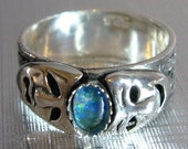 """Sterling Silver Drama Masks Gemstone Ring """" theater comedy tragedy """""""