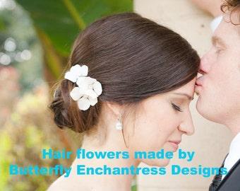 6 Rhinestone Ivory Hydrangea Flower Bridal Hair Pins