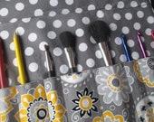 RESERVED FOR BETH Makeup brush holder , makeup brush roll, Crochet hook organizer,