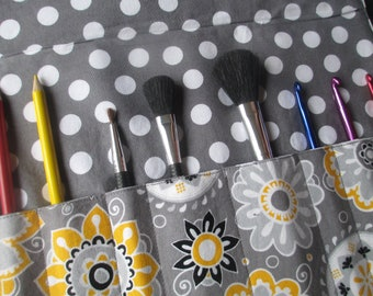 Makeup brush holder , makeup brush roll, Crochet hook organizer,