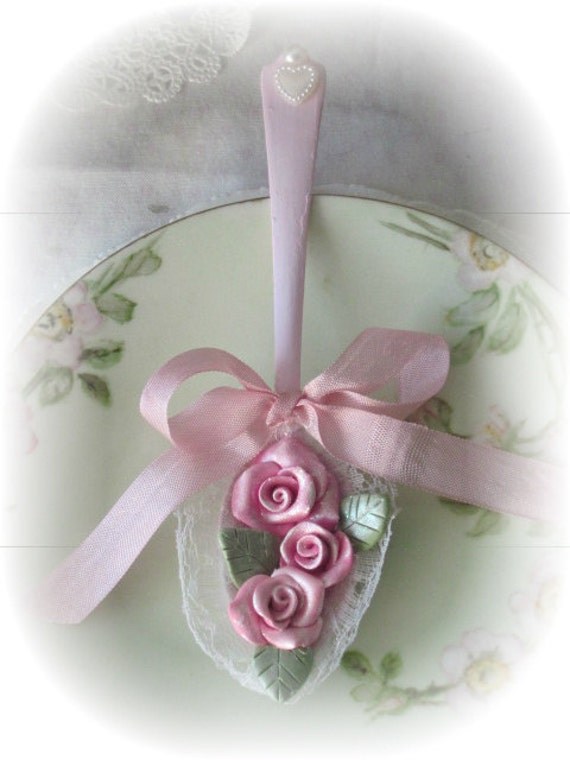 Teaspoon SPOON Shabby Cottage Chic PINK Ornament Clay Roses ECS sct schteam