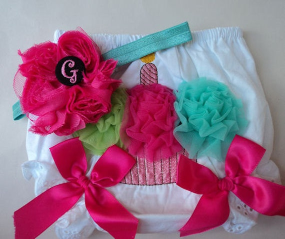 CUPCAKE rainbow BLOOMERS for Baby Girl Gift Set - Pretty Diaper Cover and Monogram Hair bow with Headband - Sizes 9 month UP to 2T