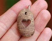 Alaska Beach Stone, Pendant, Carved Heart