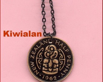 Vintage New Zealand Maori Tiki Coin as Pendant on black chain - black enamel Paint