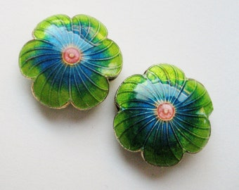 Two Turquoise & Green Flower Beads - Enameled
