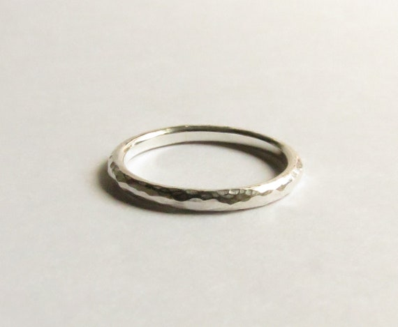 Custom Sterling Silver Hammered Narrow Rounded band. Silver Hammered Ring. Custom Silver Hammered Ring.