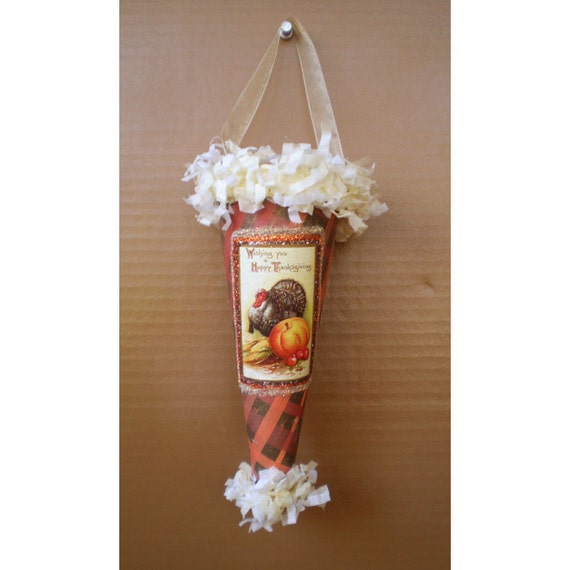 Vintage style Thanksgiving Victorian door hanging Autumn Fall cone home decoration
