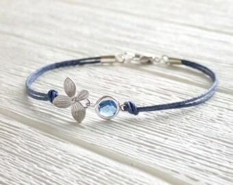 Midnight Bloom Jewelry Bracelet - September Birthday - Sapphire - Silver Flower Bracelet