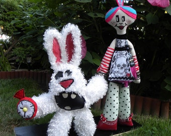PuNkEr Alice and White Rabbit - doll - plush - pink