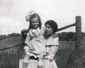 vintage photo 1915 Young Girl and Mom waiting for the mail
