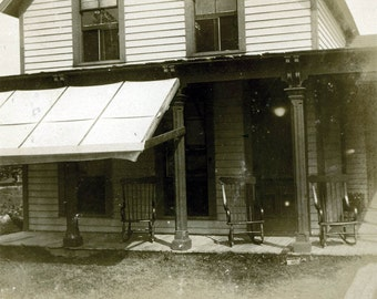 vintage photo mysterious Home House w Three Rocking Chairs on Porch Waiting for Sitters