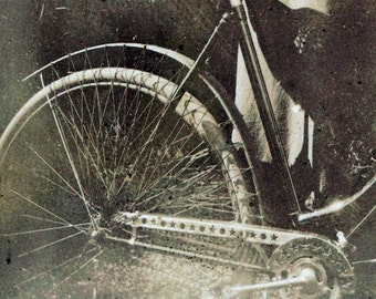 vintage photo 1899 Lady w Star Chain guard Antique Bicycle