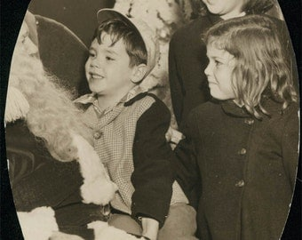 vintage photo Children on Santa Claus Lap