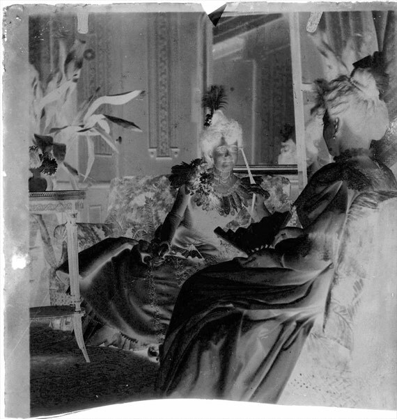 vintage photo Glass Negative Nancy France French Theater Actor LAdy w Theater Glasses