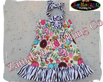 Girl Animal Safari Dress - Girl Zebra Ruffle Dress - Custom Boutique Clothing 3 6 9 12 18 24 month size 2T 2 3T 3 4T 4 5T 5 6 7 8