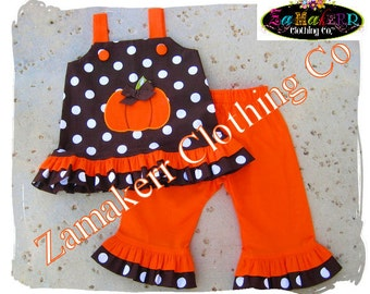 Custom Boutique Clothing Girl Fall Outfit Set Pumpkin Halloween Orange Brown Pageant Gift Pant 3 6 9 12 18 24 month size 2T 3T 4T 5T 6 7 8