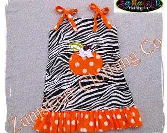 Custom Boutique Clothing Girl Pumpkin Zebra Dress Halloween Thanksgiving Orange Fall Pageant 3 6 9 12 18 24 month size 2T 3T 4T 5T 6 7 8
