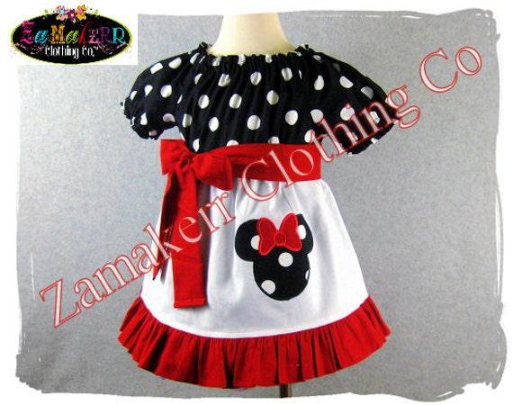 Minnie Mouse Girl Dress - Minnie Peasant Dress - Black Polkadot Minnie Toddler Dress Size 3 6 9 12 18 24 month 2T 2 3T 3 4T 4 5T 5 6 7 8