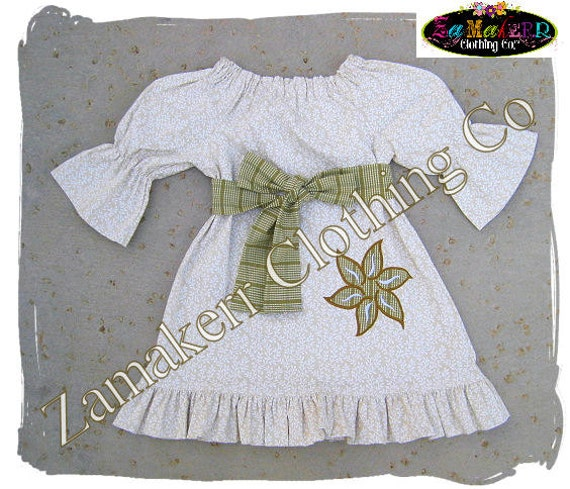 Girl Khaki Peasant Dress - Girl Floral Dress - Girl Ruffle Dress with Sash Size 3 6 9 12 18 24 month size 2T 2 3T 3 4T 4 5T 5 6 7 8