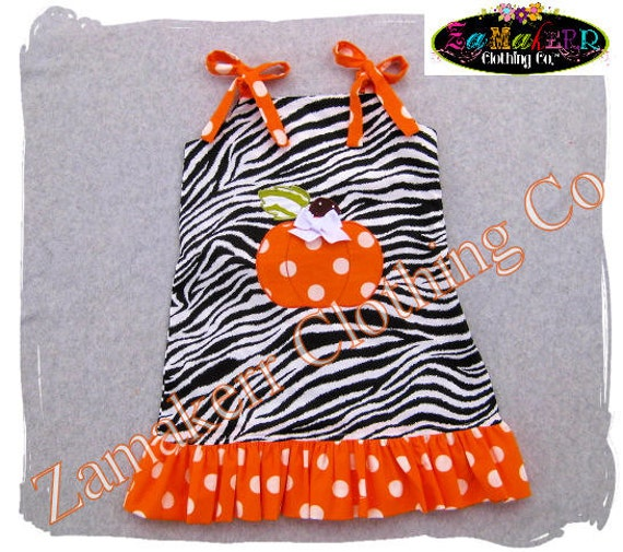 Custom Boutique Clothing Girl Pumpkin Zebra Dress Halloween Thanksgiving Orange Fall Pageant 3 6 9 12 18 24 month size 2T 3T 4T 5T 6 7 8