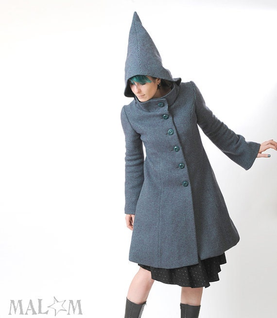 30% DEPOSIT Blue hooded coat - Goblin Hood and tall collar Camille coat - blue and purple stripes - Winter coat