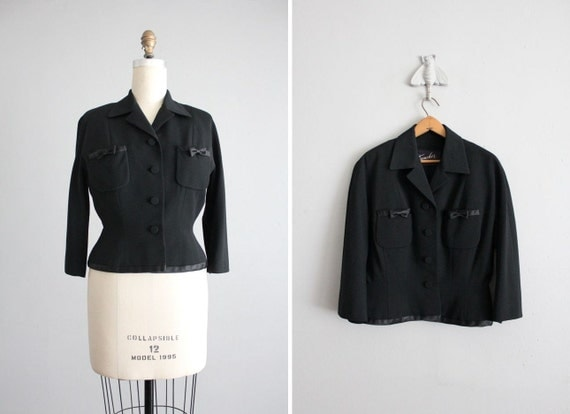 finale sale - black bow blazer / 1950s wool  jacket