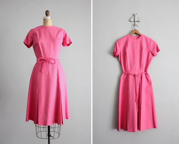 PINK SALE / 1960s vintage bright pink summer dress